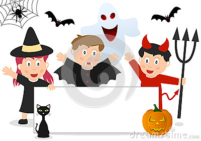 Halloween Kids and Banner