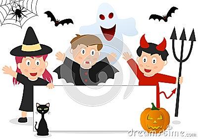 Halloween Kids and Banner