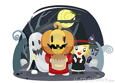 halloween kids trick or treat - vector