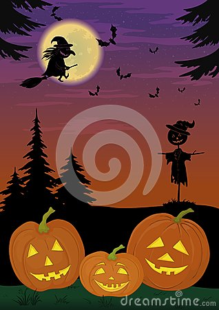 Halloween landscape with pumpkins