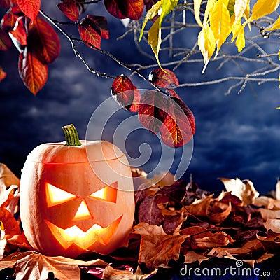 Halloween lantern pumpkin  in dark sky clouds
