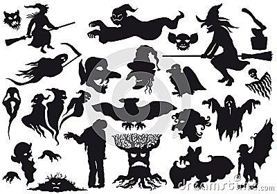 ??????Halloween las siluetas de los monstruos