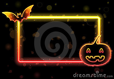 Halloween Lights Frame with Bat