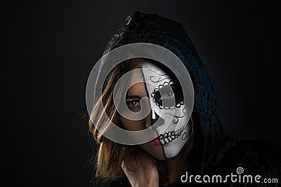 halloween m dchen gesicht gemalt stockfoto bild 56641627. Black Bedroom Furniture Sets. Home Design Ideas