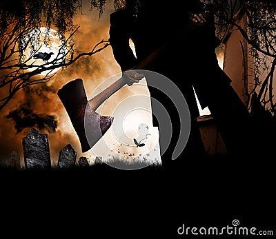 Halloween man with ax