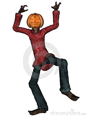Halloween man with pumpkin head