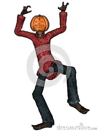Halloween man with pumpkin head