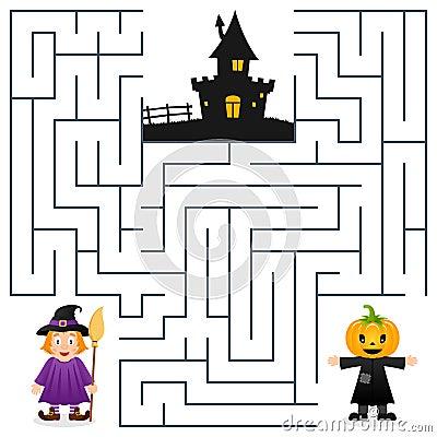 Free Halloween Maze - Scarecrow & Witch Royalty Free Stock Photo - 44776185