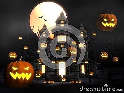 Halloween misty night at castle
