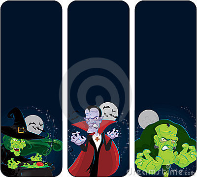 Halloween monsters vertical  banners