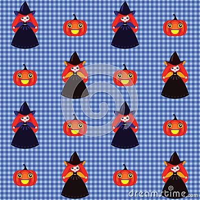 Halloween-Muster mit Hexen und Kürbisen