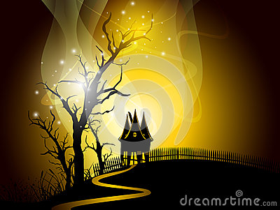 Halloween night background with scary pumpkin.