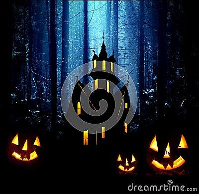 Halloween. Night. Castle and pumpkins.