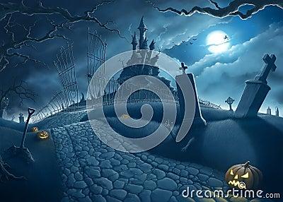 Halloween night Cartoon Illustration