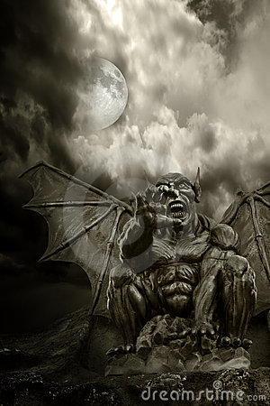 Free Halloween - Night Demon And Full Moon Stock Images - 5272394
