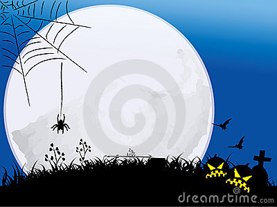 Halloween night with full moon