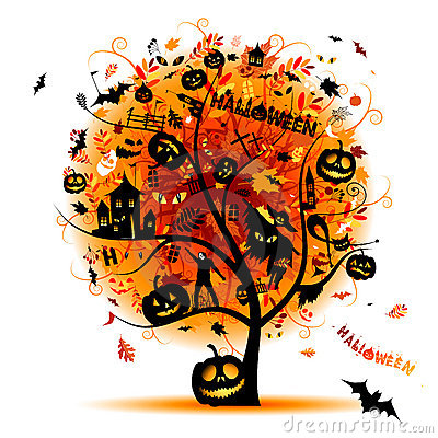 Halloween night party, concept tree