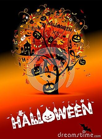 Halloween night party, concept tree
