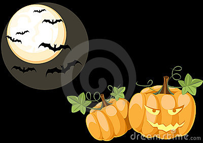 Halloween night scene with pumpkins
