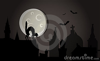 Halloween night in town vector