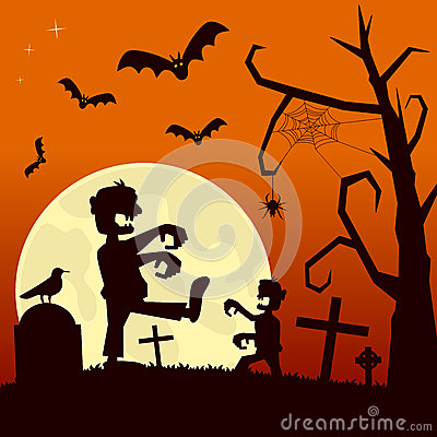 Free Halloween Night With Zombies Stock Image - 34282661