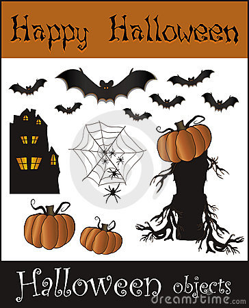Halloween objects - bat pumpkin spider web house t