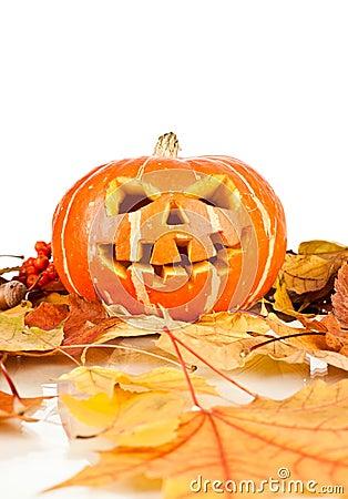 Halloween, old jack-o-lantern on white