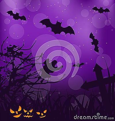 Halloween ominous background with pumpkins, bats,