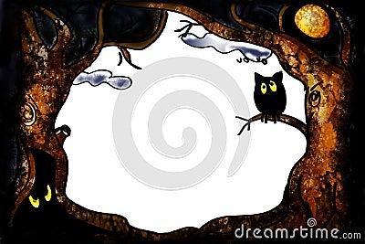 Halloween owl border
