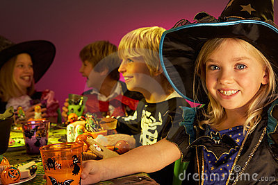 Halloween party with children having fun