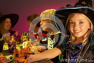 Halloween party with children having fun