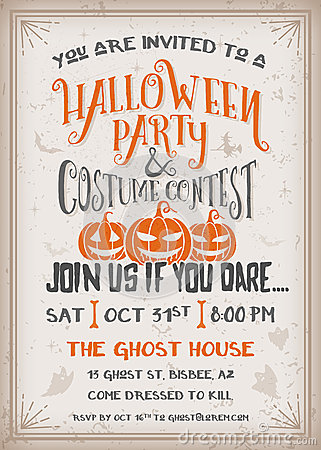Halloween Party And Costume Contest Invitation Stock ...