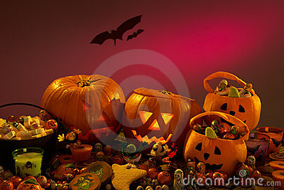 Halloween party decorations with  pumpkins