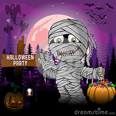 Free Halloween Party Design Template, With Mummy, Pumpkin And Lamp Royalty Free Stock Photos - 99269688