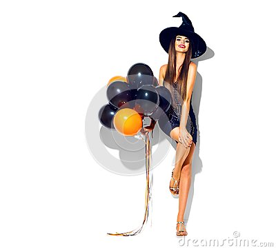Free Halloween Party Girl. Sexy Witch Holding Black And Orange Air Balloons Stock Photo - 100955090