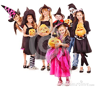 Halloween party with group kid holding  pumkin.