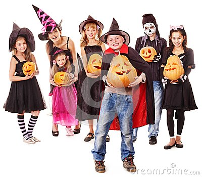 Halloween party with group kid holding  pumpkin.