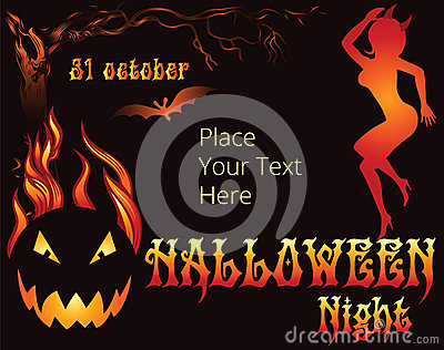 Halloween Party template with witch