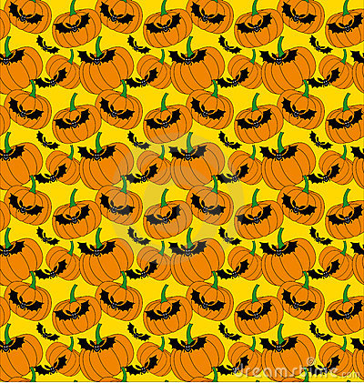Halloween pattern with bats and pumpkins