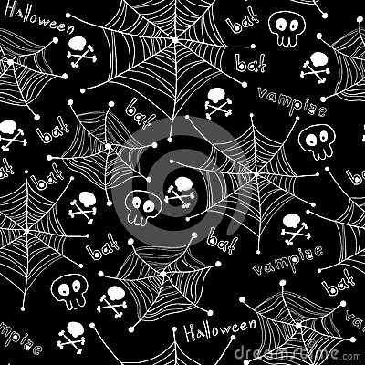 Halloween pattern. Spiders on Webs seamless