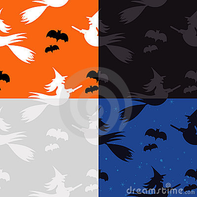 Halloween Pattern: Witches and Bats