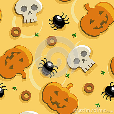Halloween pizza seamless pattern