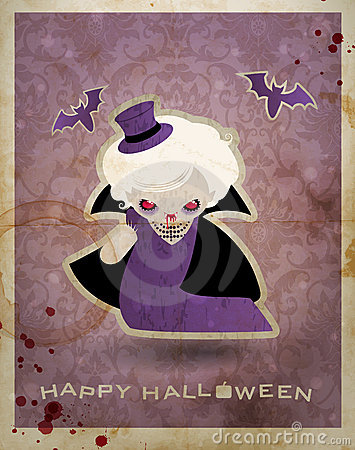 Halloween postcard with cute little vampire