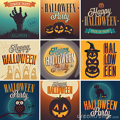 Free Halloween Posters Set. Stock Images - 33691104