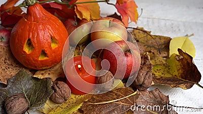 Halloween powitanie tła z dyniami, jabłkami i liśćmi jesiennymi zdjęcie wideo