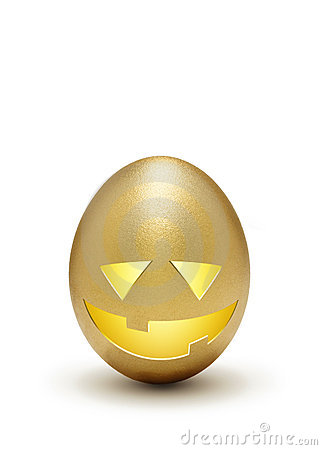 Halloween profit - Golden egg as jack o lantern