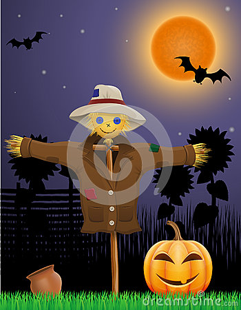 Free Halloween Pumpkin And Scarecrow In The Night Sky Stock Images - 59080944