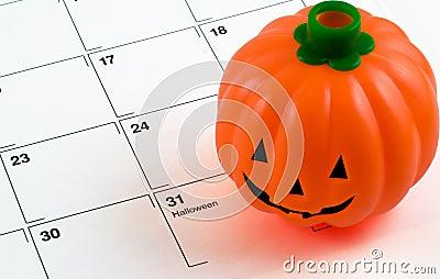 Halloween pumpkin on calendar