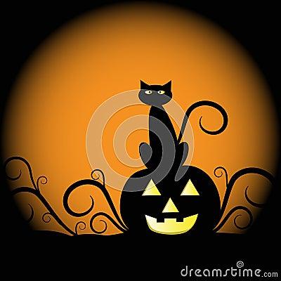 Free Halloween Pumpkin Cat Royalty Free Stock Image - 21181166