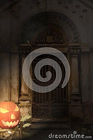 Halloween pumpkin and cemetery gate